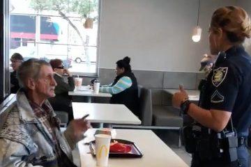 Бездомник избркан од McDonalds.