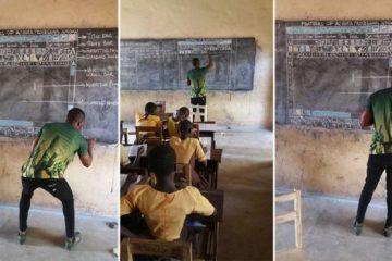 Наставник предава информатика без компјутер, се црта на табла.